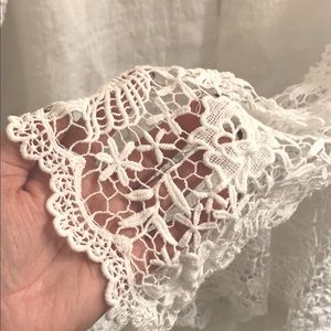 NWT White Linen Blouse with Crochet details